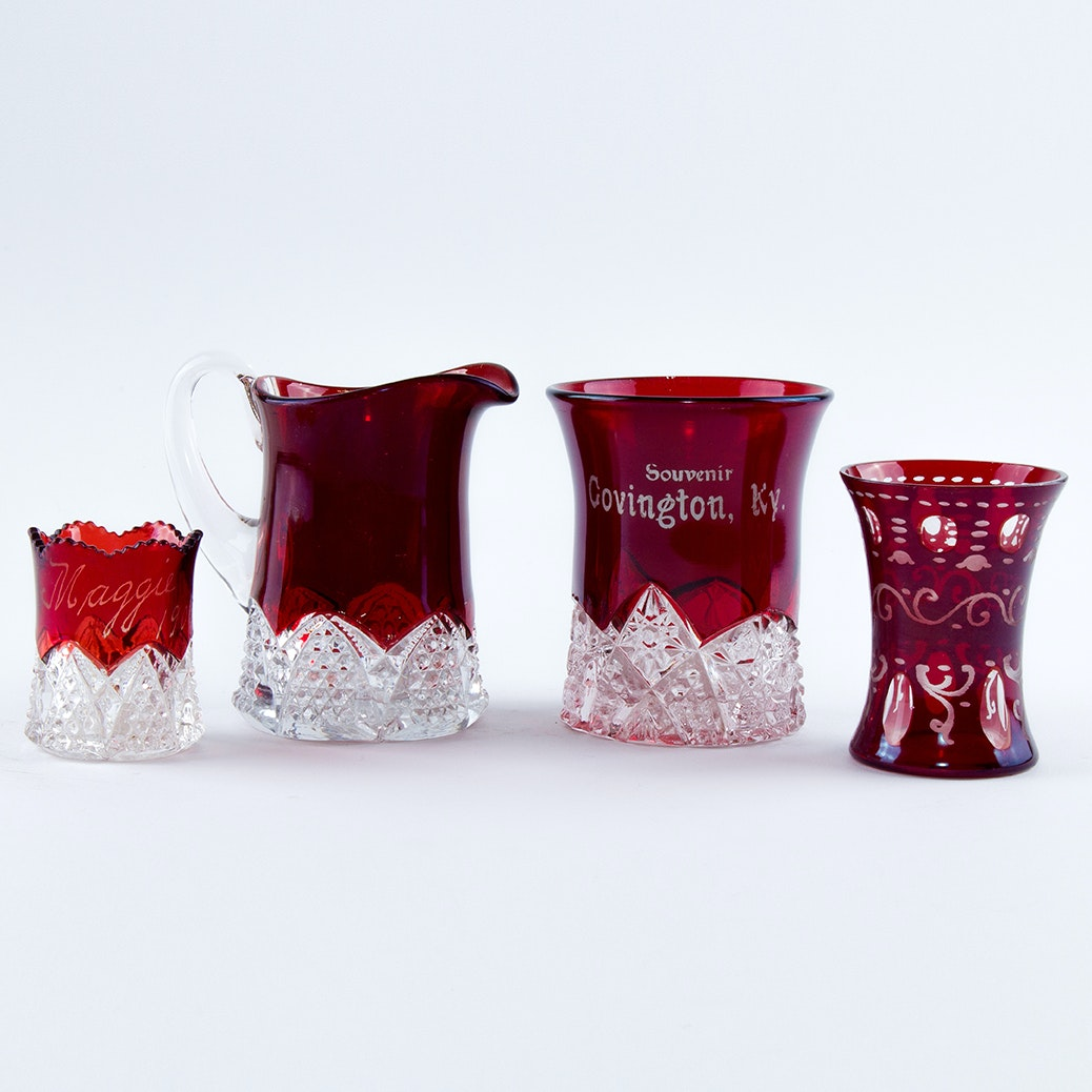 Antique and Vintage Flashed Ruby Glass