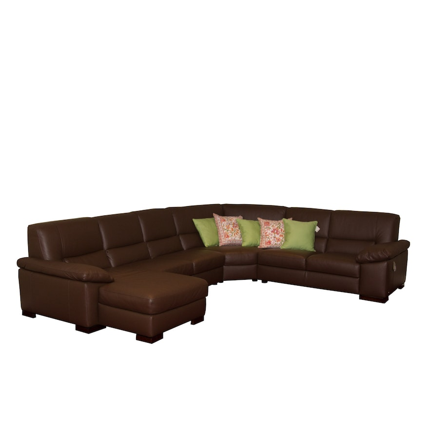 Italsofa Chocolate Brown Leather Sectional Sofa