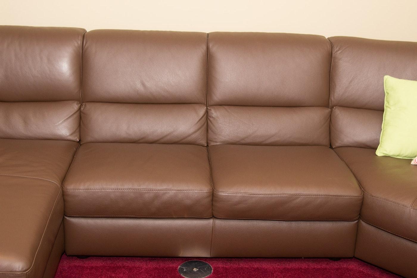 Italsofa Chocolate Brown Leather Sectional Sofa Ebth