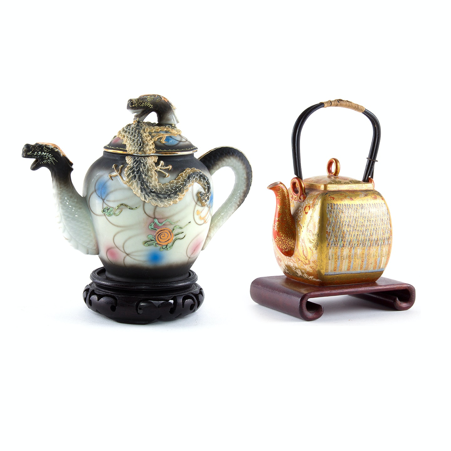 Chinese Ceramic Dragon Teapot and Japanese Kutani Teapot