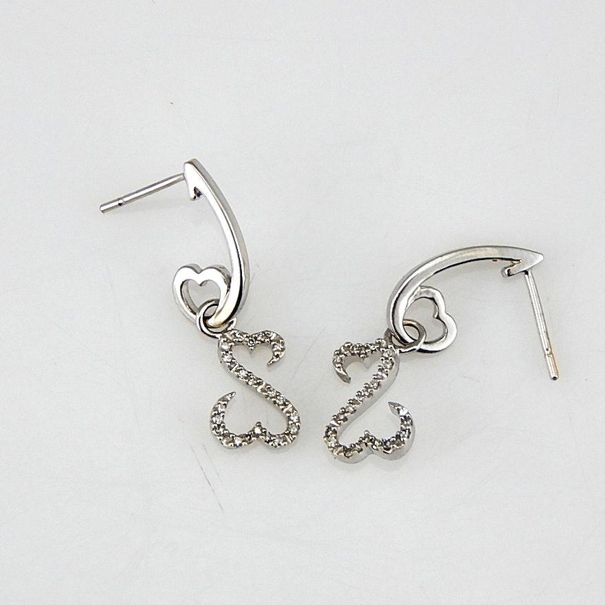 14k White Gold Jane Seymour Open Hearts Diamond Earrings