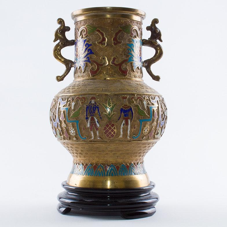 Vintage Japanese Champlevé Vase, Circa 1930s