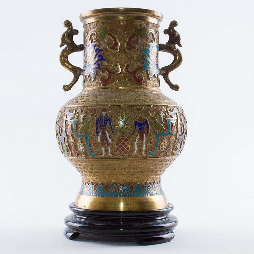 Vintage Japanese Champlev Vase Circa 1930s Ebth