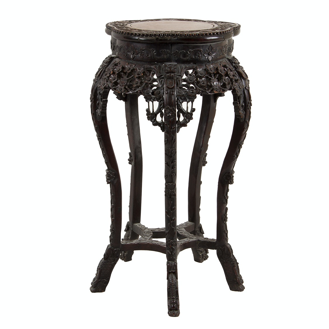 Early 20th Century Chinese Carved Rosewood and Marble Pedestal Table