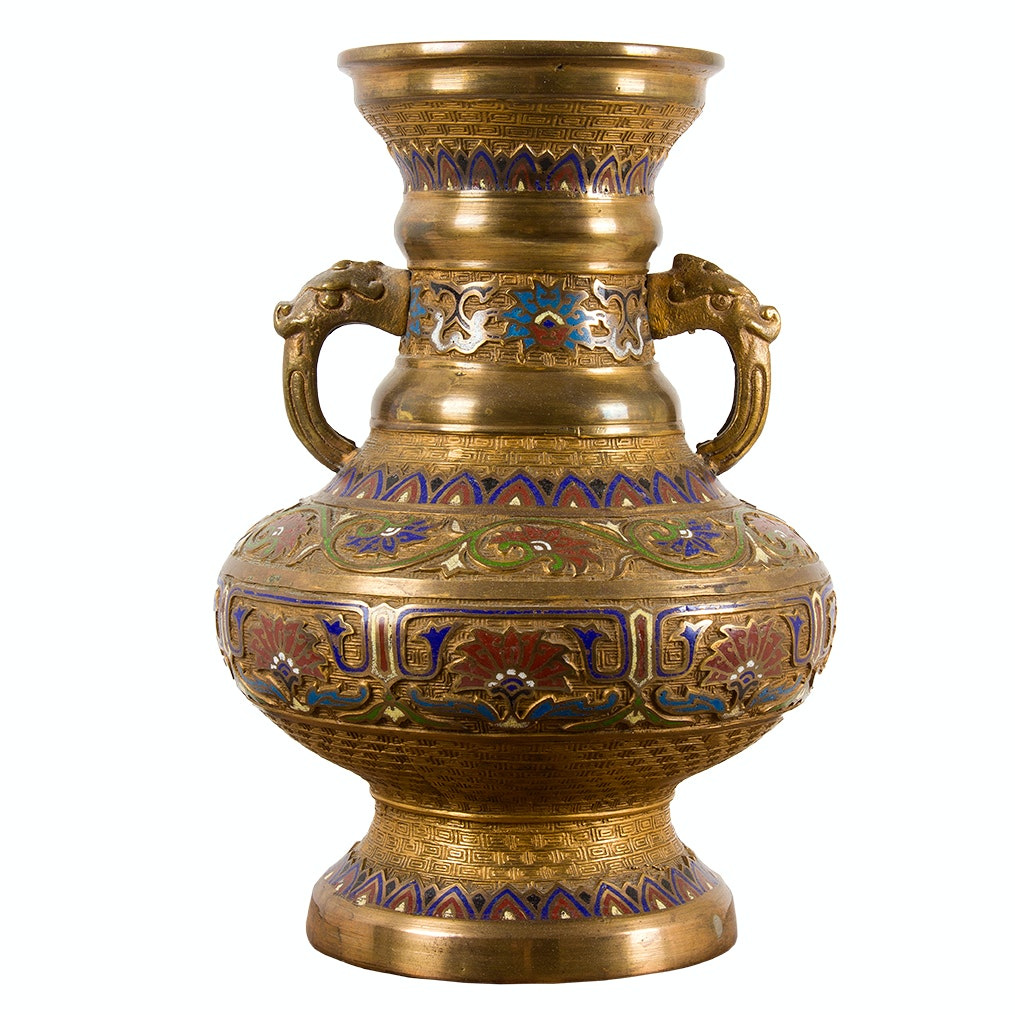 Vintage Japanese Champlevé Vase