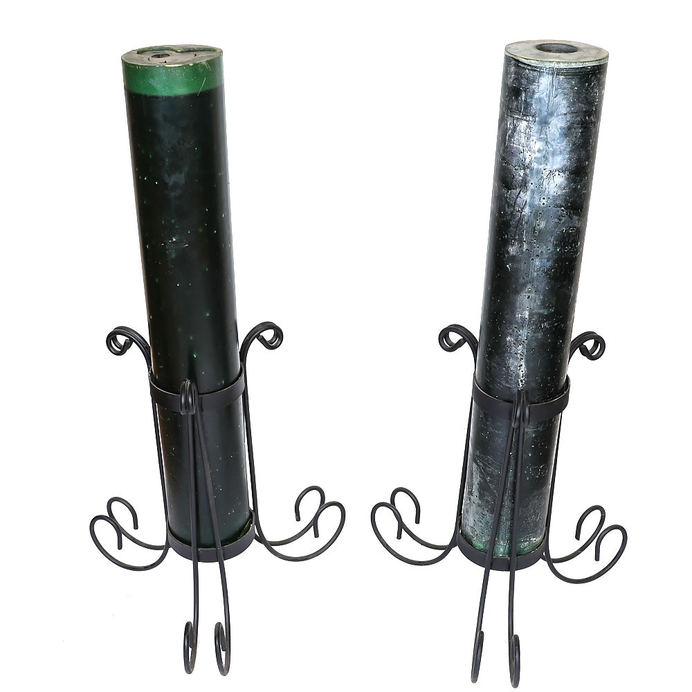 Pair of Metal Floor Candleholders with Large Pillar Candles