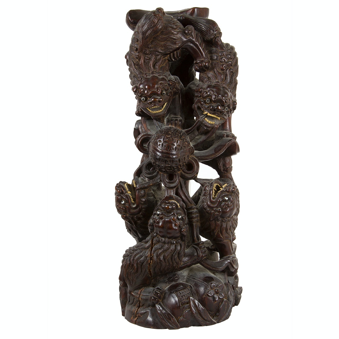 Chinese Guardian Lions Rosewood Sculpture