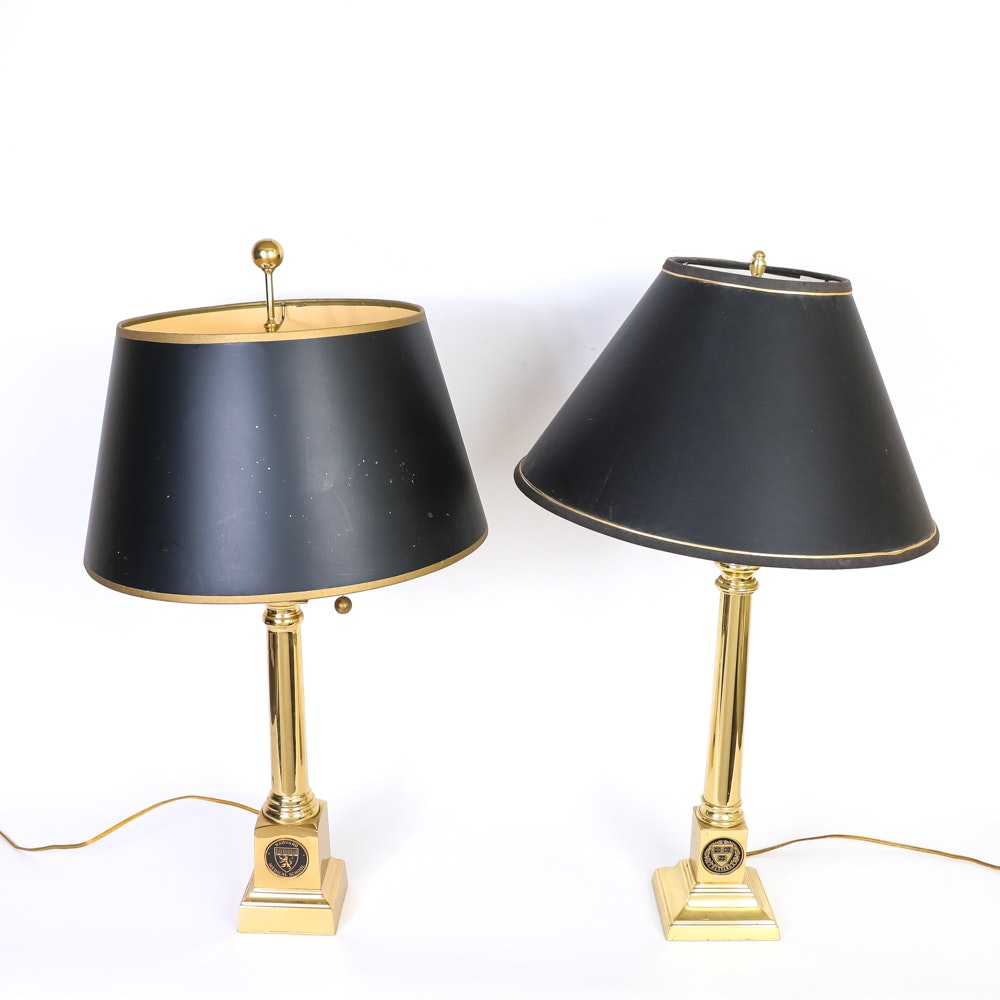 Harvard University Brass Table Lamps