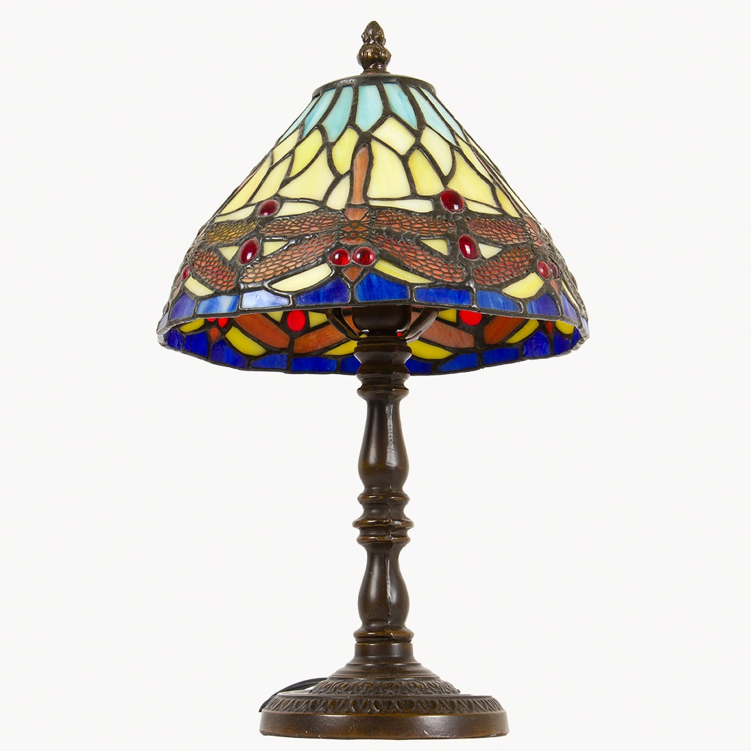 Stained Glass Dragonfly Tiffany Style Lamp
