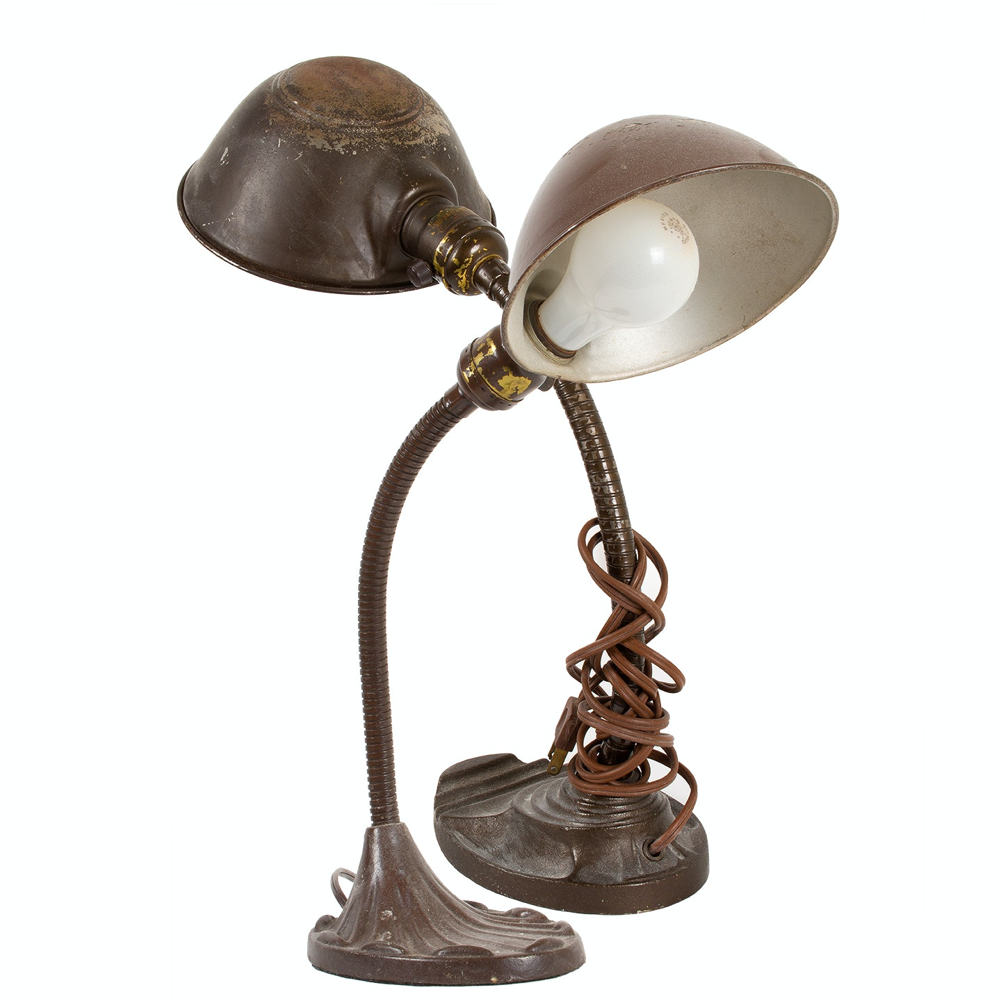 Vintage Eagle and Metal Desk Lamp with Dome Shades