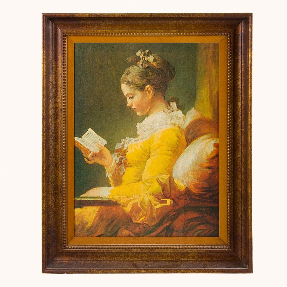 "Ethan Allen ""Girl Reading"" Framed Reproduction Painting"