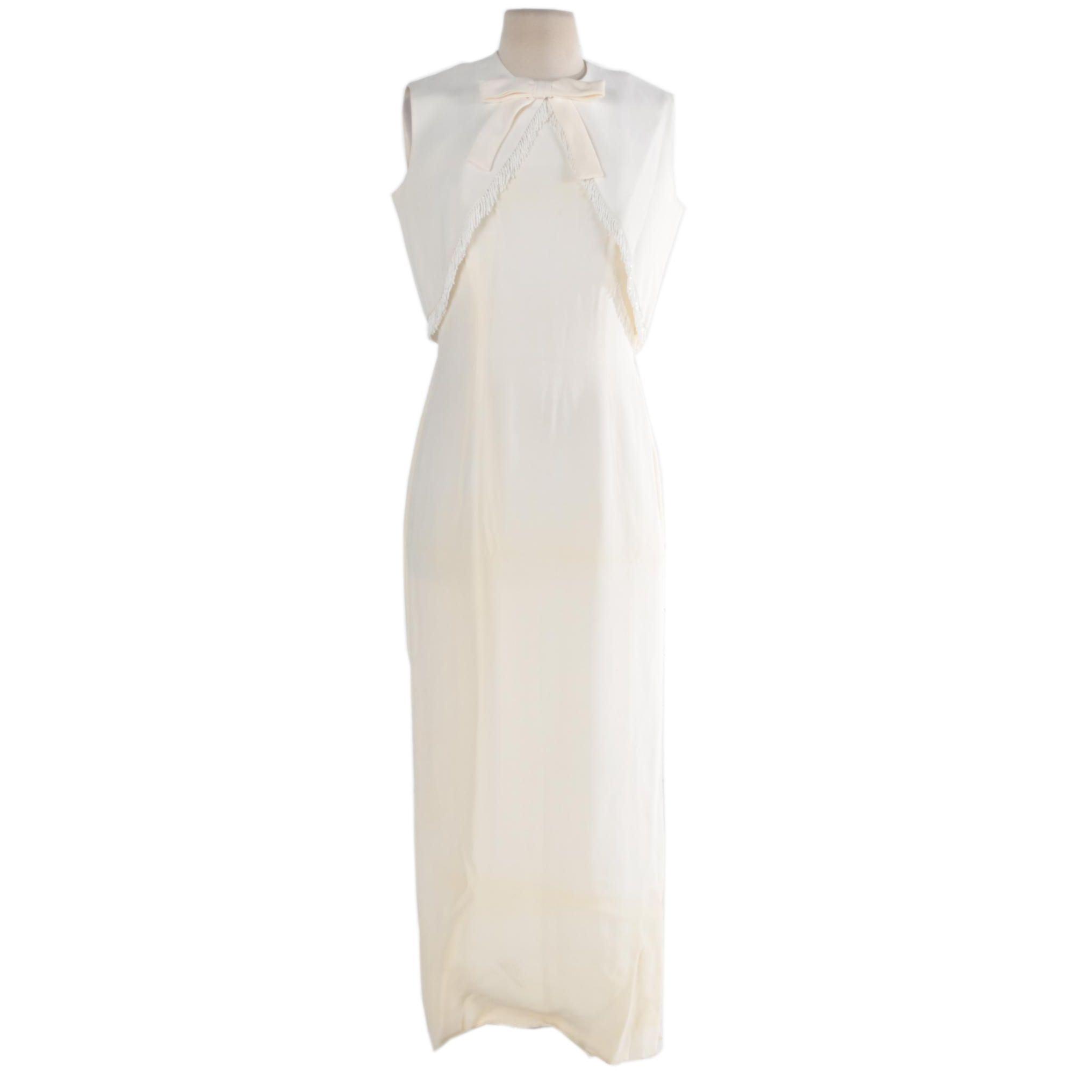 Vintage White Sheath Dress with Beaded Fringe Vest