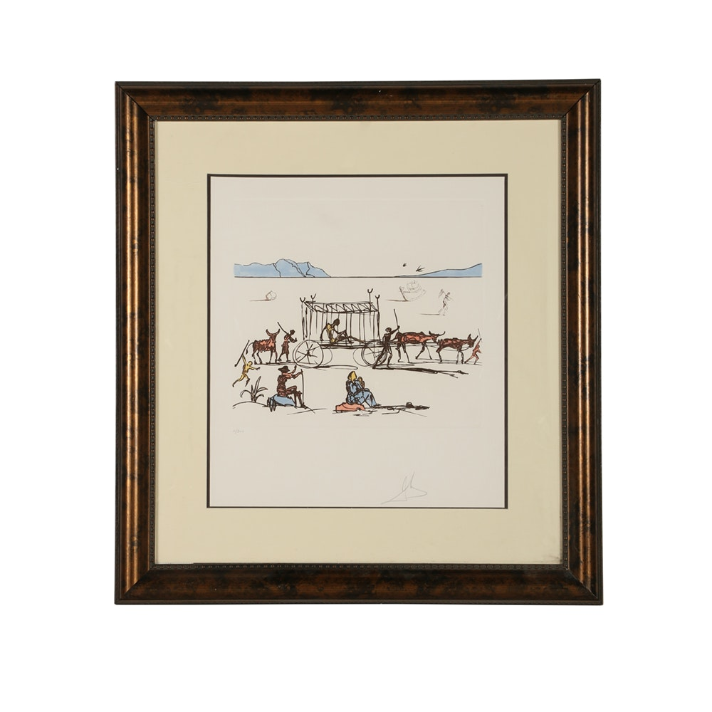 "Salvador Dalí Etching ""Judgement"" from ""Historia de Don Quichotte de la Mancha"""