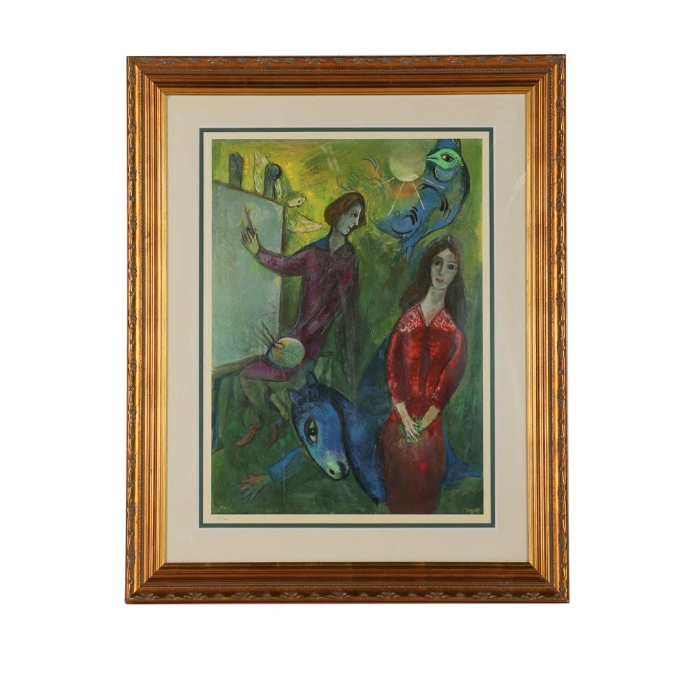 "Giclée Print on Paper After Marc Chagall ""The Artist and His Model"""