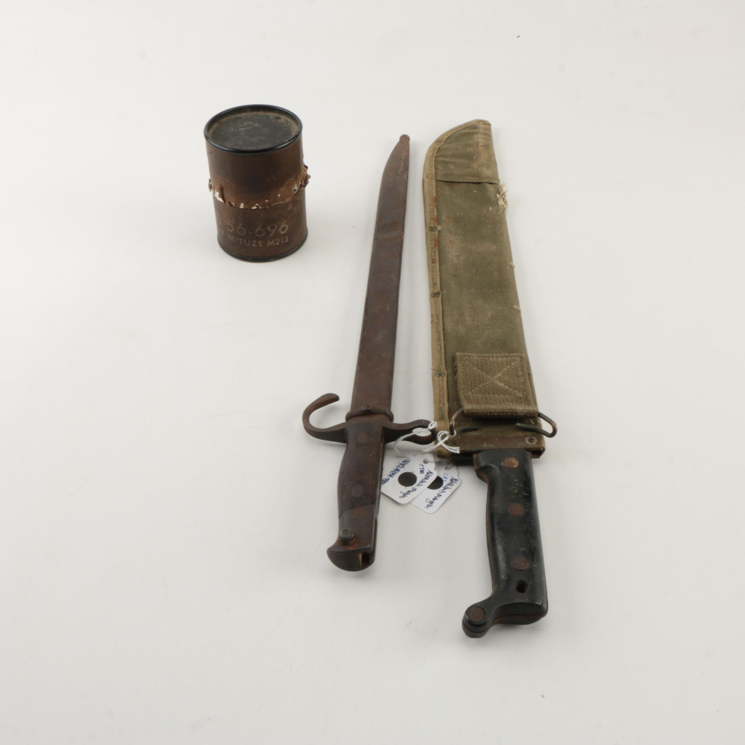 WWI Bayonet, Machete, and Grenade Container