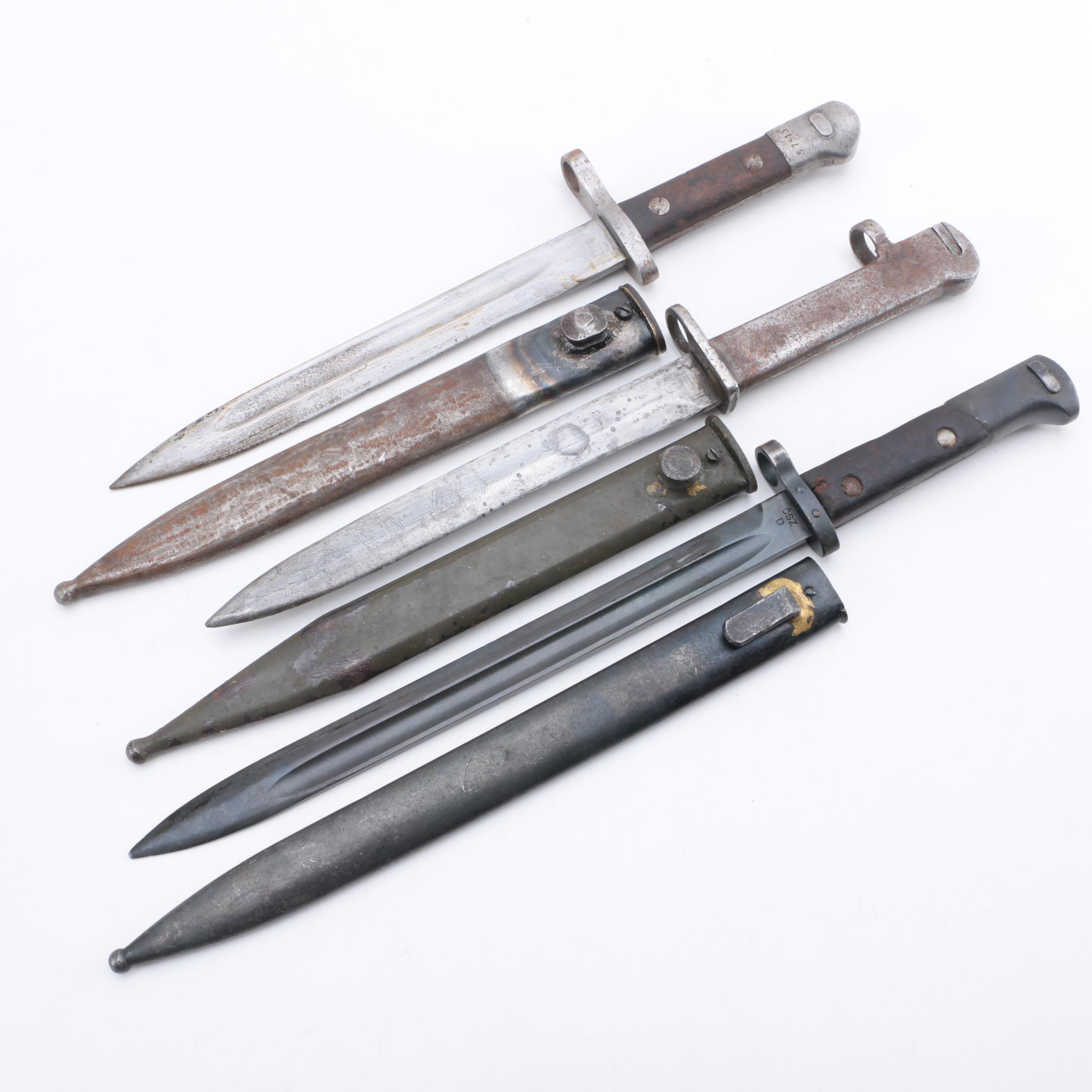 Vintage Turkish and Czechoslovakian Bayonets