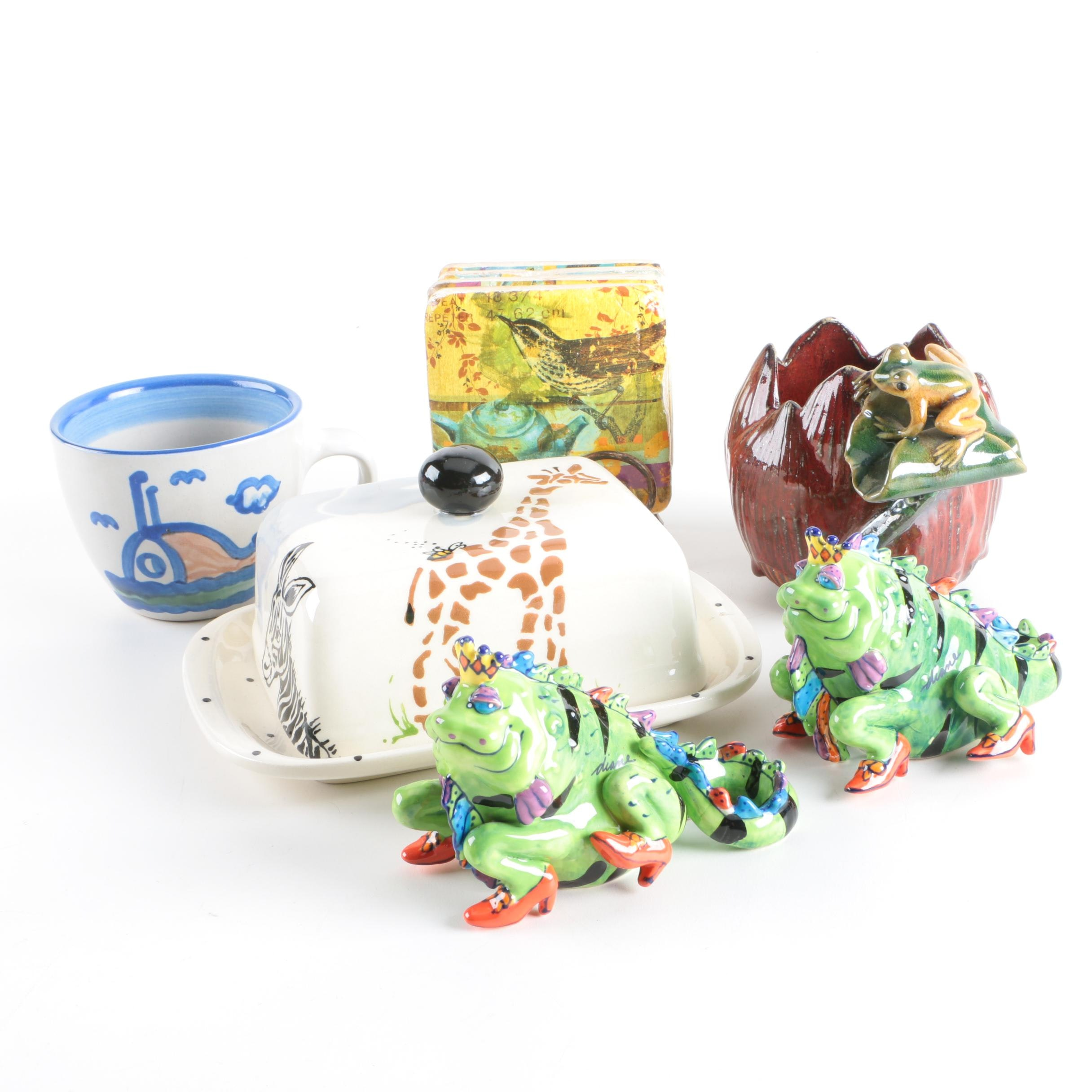 "Sara Hunter ""Safari"" Butter Dish with Other Stoneware and Ceramic Tableware"