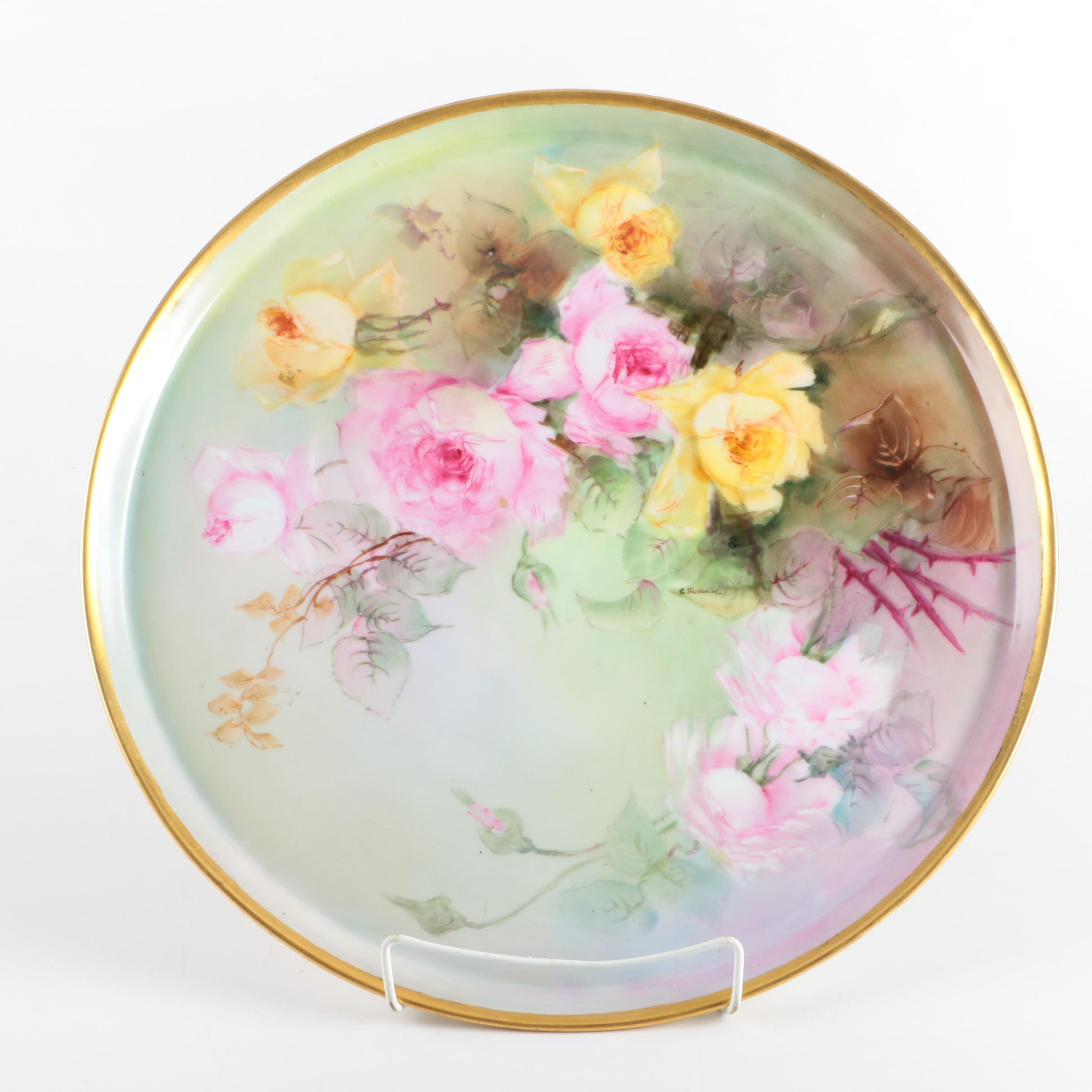 "Vintage ""Bavaria Rose"" Floral Patterned Plate"