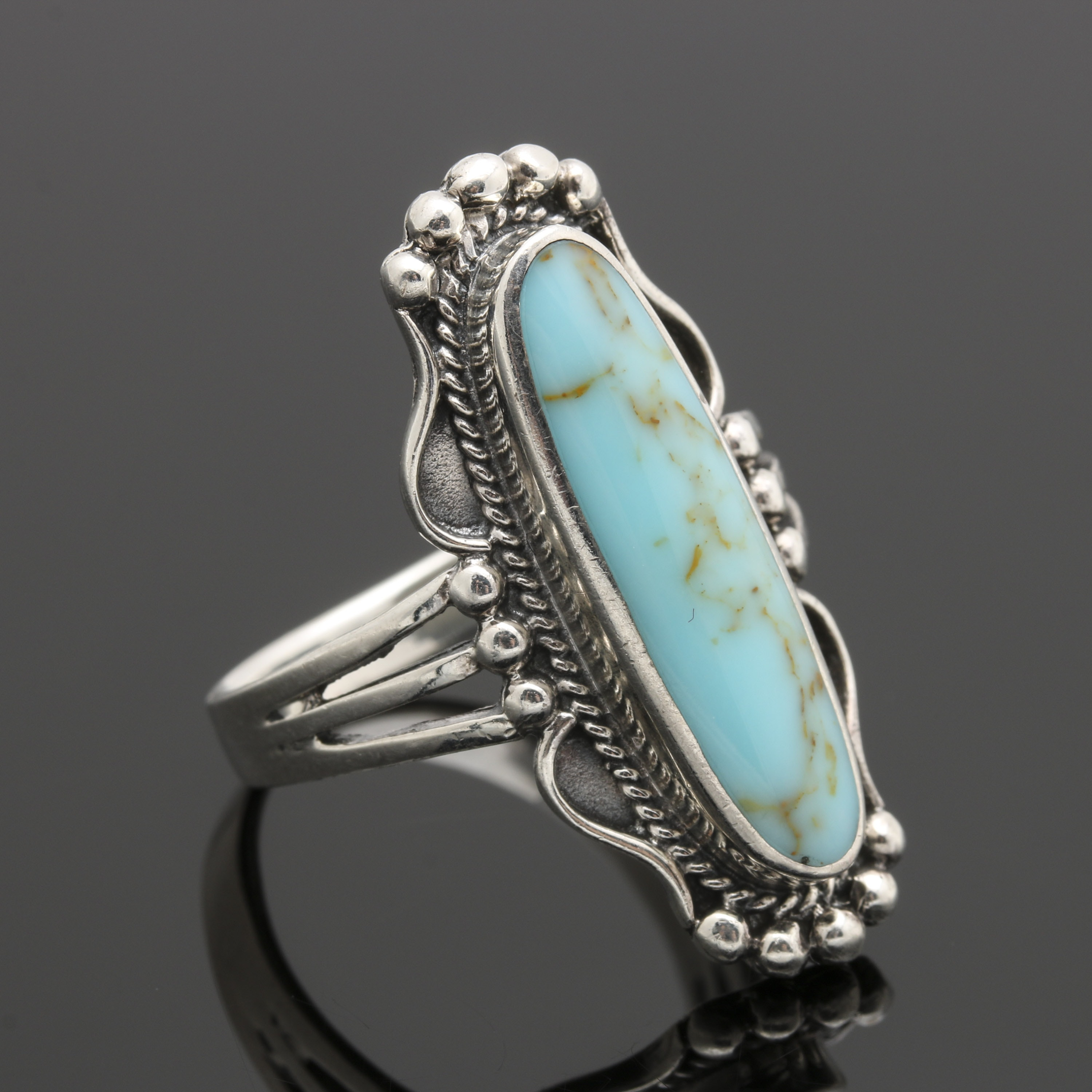 Southwestern Style Sterling Silver Imitation Turquoise Ring