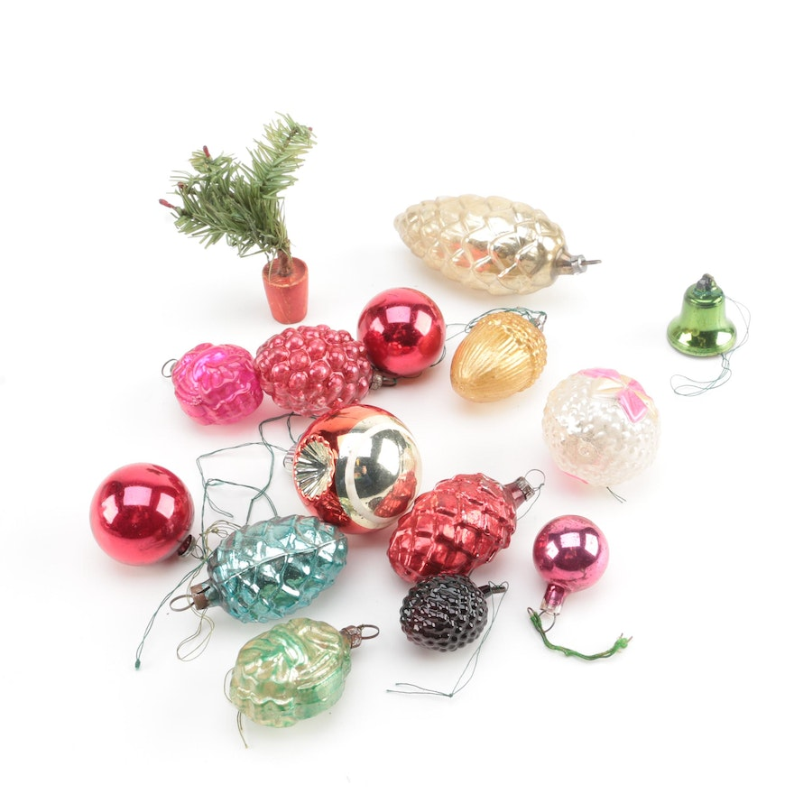 assorted vintage glass christmas ornaments - Vintage Glass Christmas Ornaments