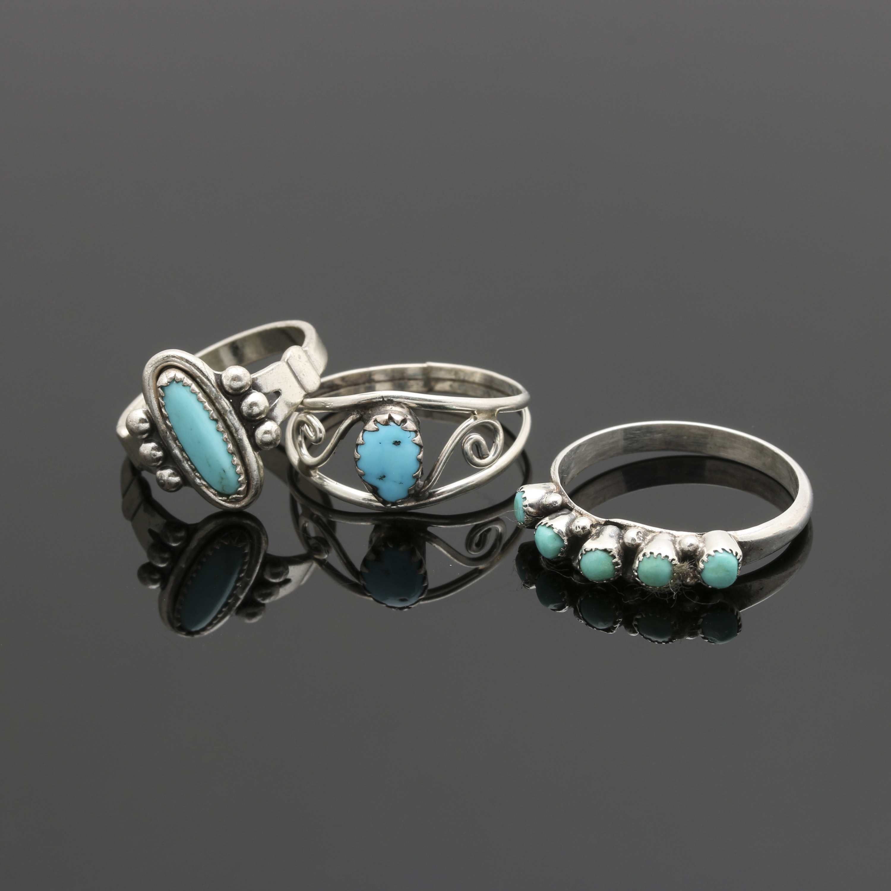 Southwestern Style Sterling Silver Turquoise Rings Including Bell Trading Post