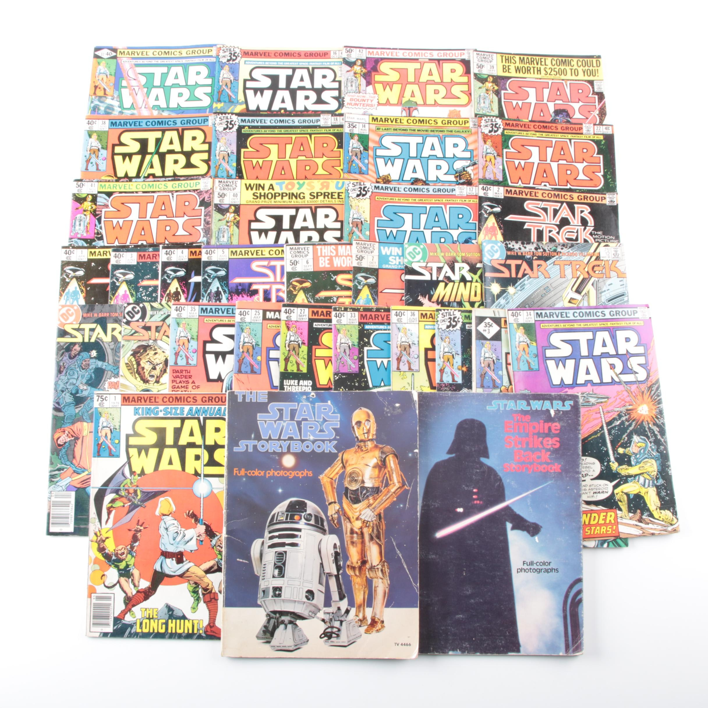 "Bronze Age ""Star Wars"" Marvel Comics with Story Books and ""Star Trek"" Comics"