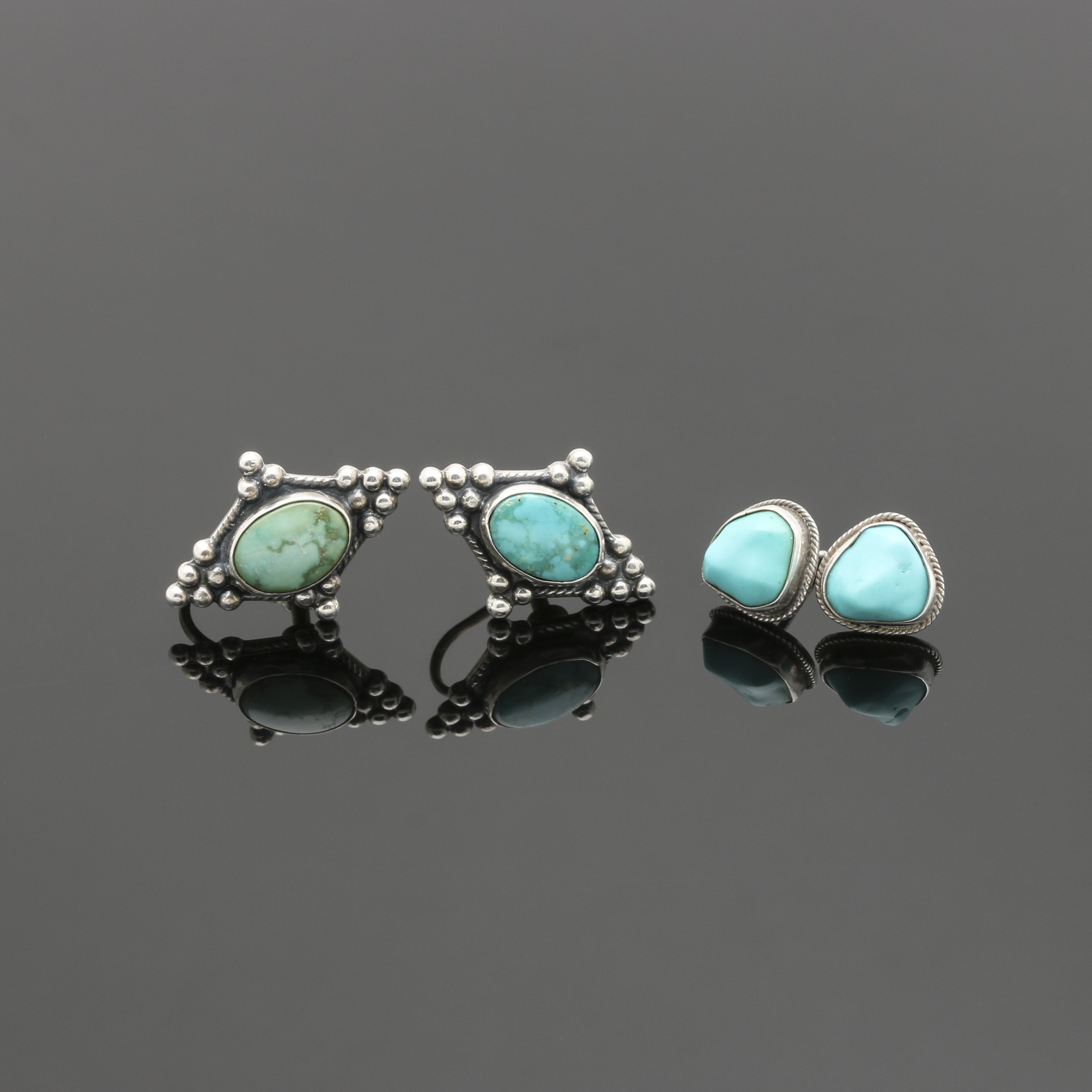 Southwestern Style Sterling Silver Turquoise Earring Selection