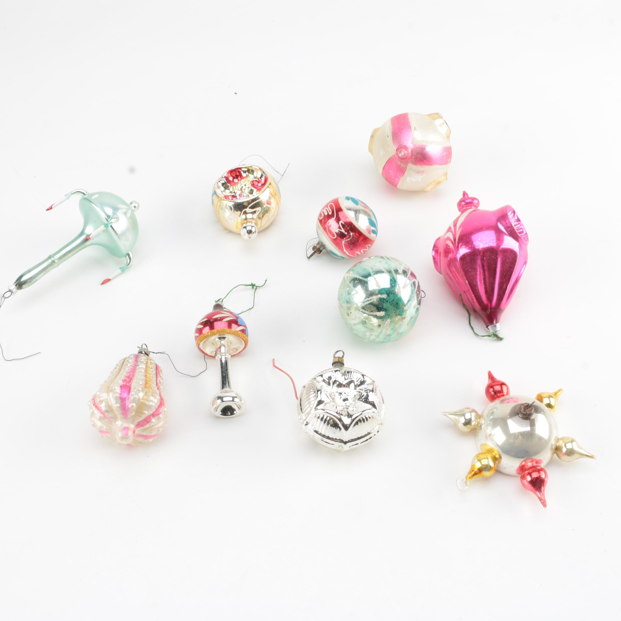 Vintage Assorted Glass Christmas Ornaments