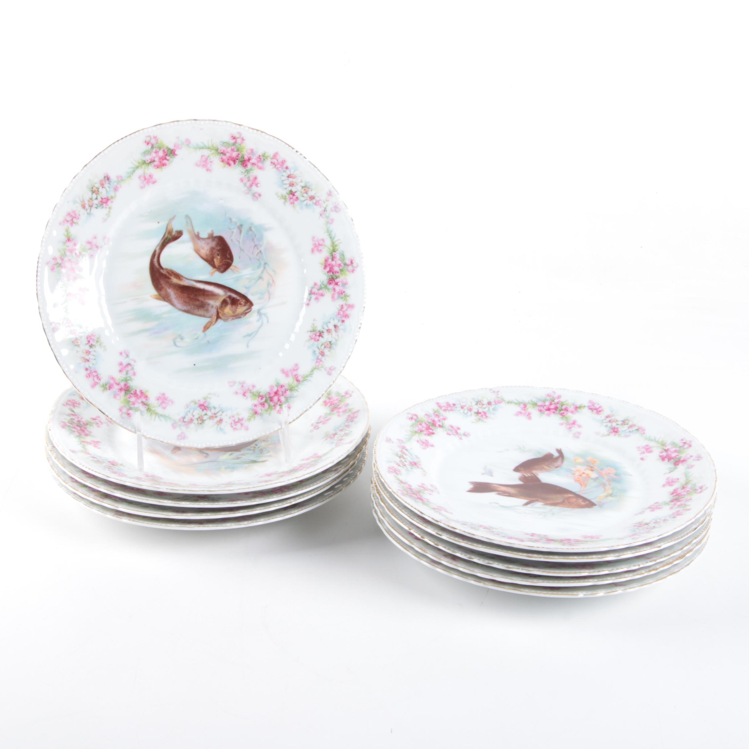Vintage Victoria Austrian Porcelain Fish Plates