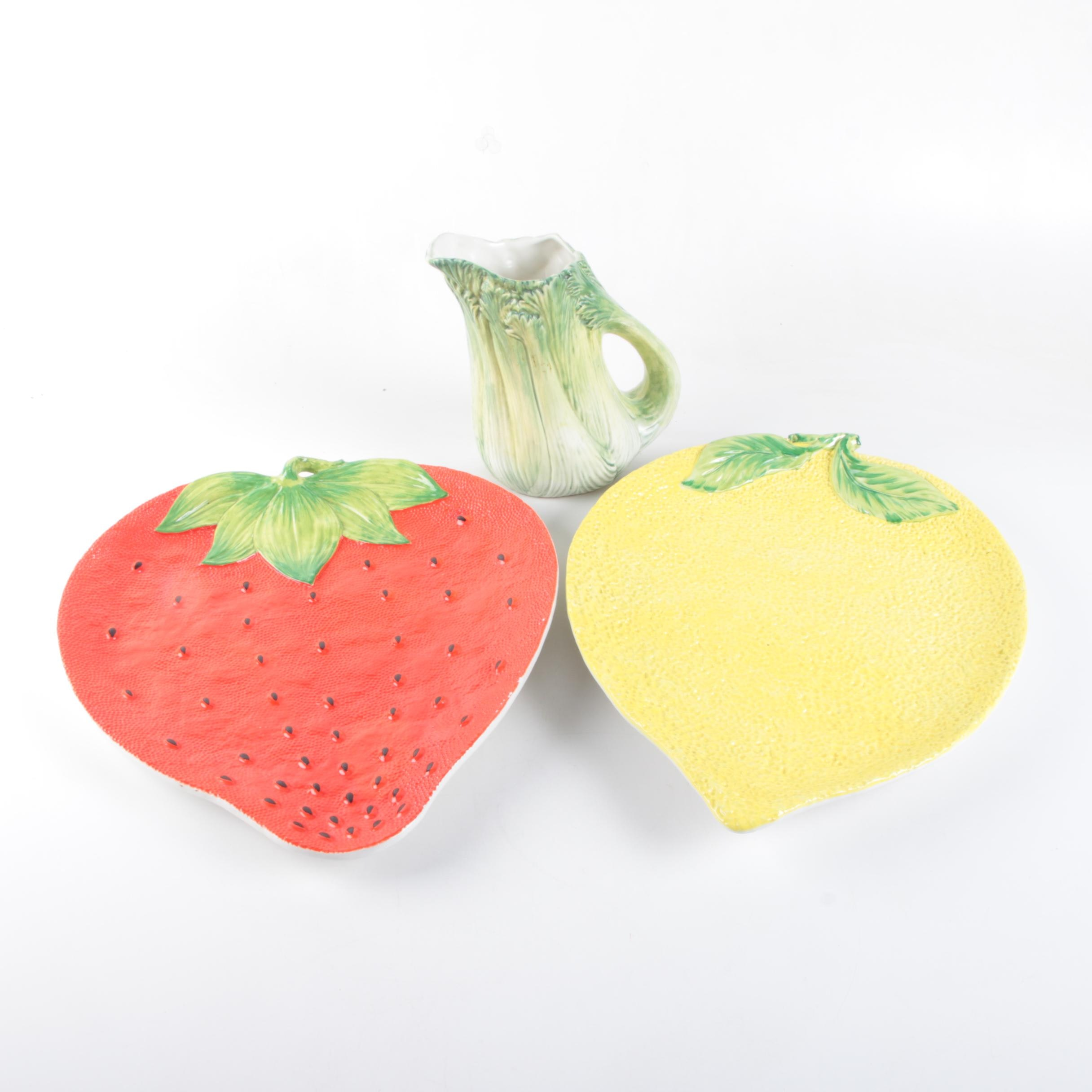 Lemon and Strawberry Tray with Pitcher