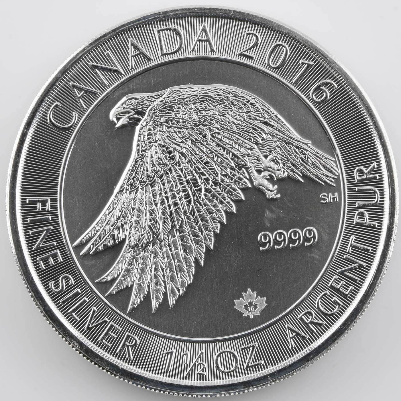 2016 Canadian $8 White Falcon Silver 1 1/2 Troy Ounce Silver Bullion Coin