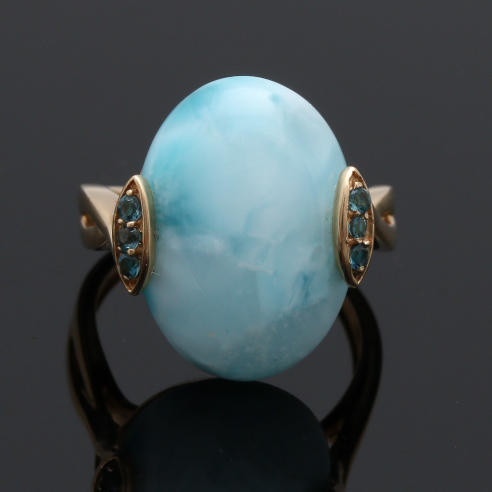 14K Yellow Gold Larimar and Topaz Ring