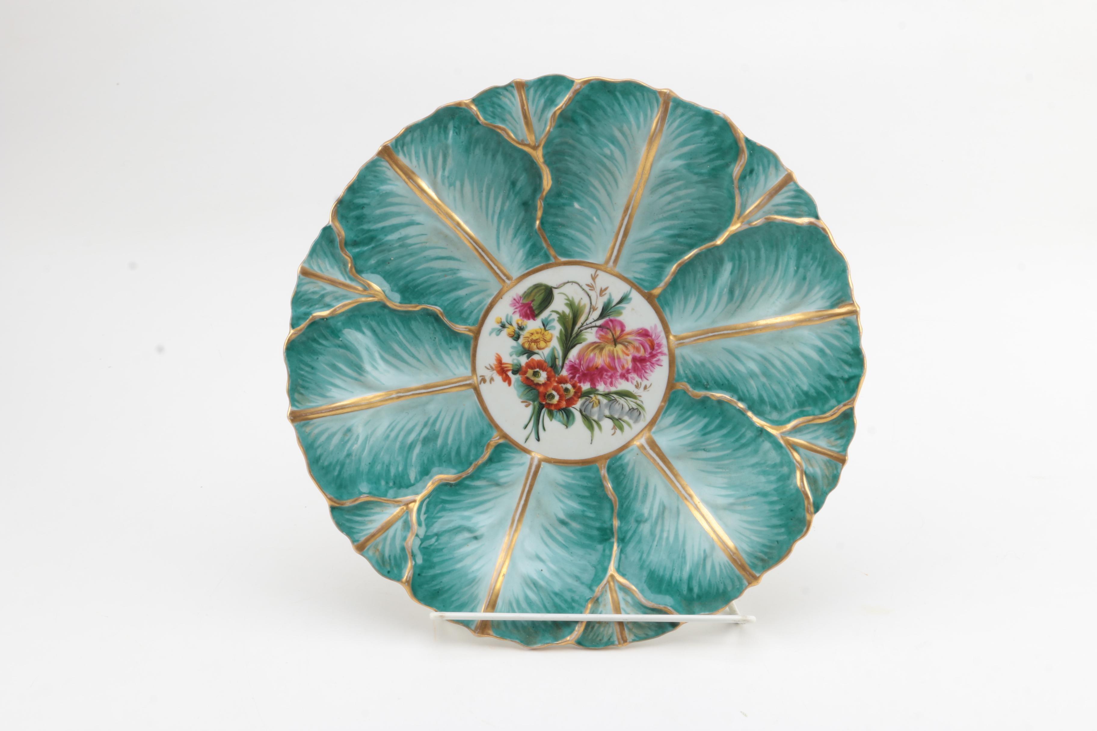 Vintage Meissen Style Leaf Molded Porcelain Plate