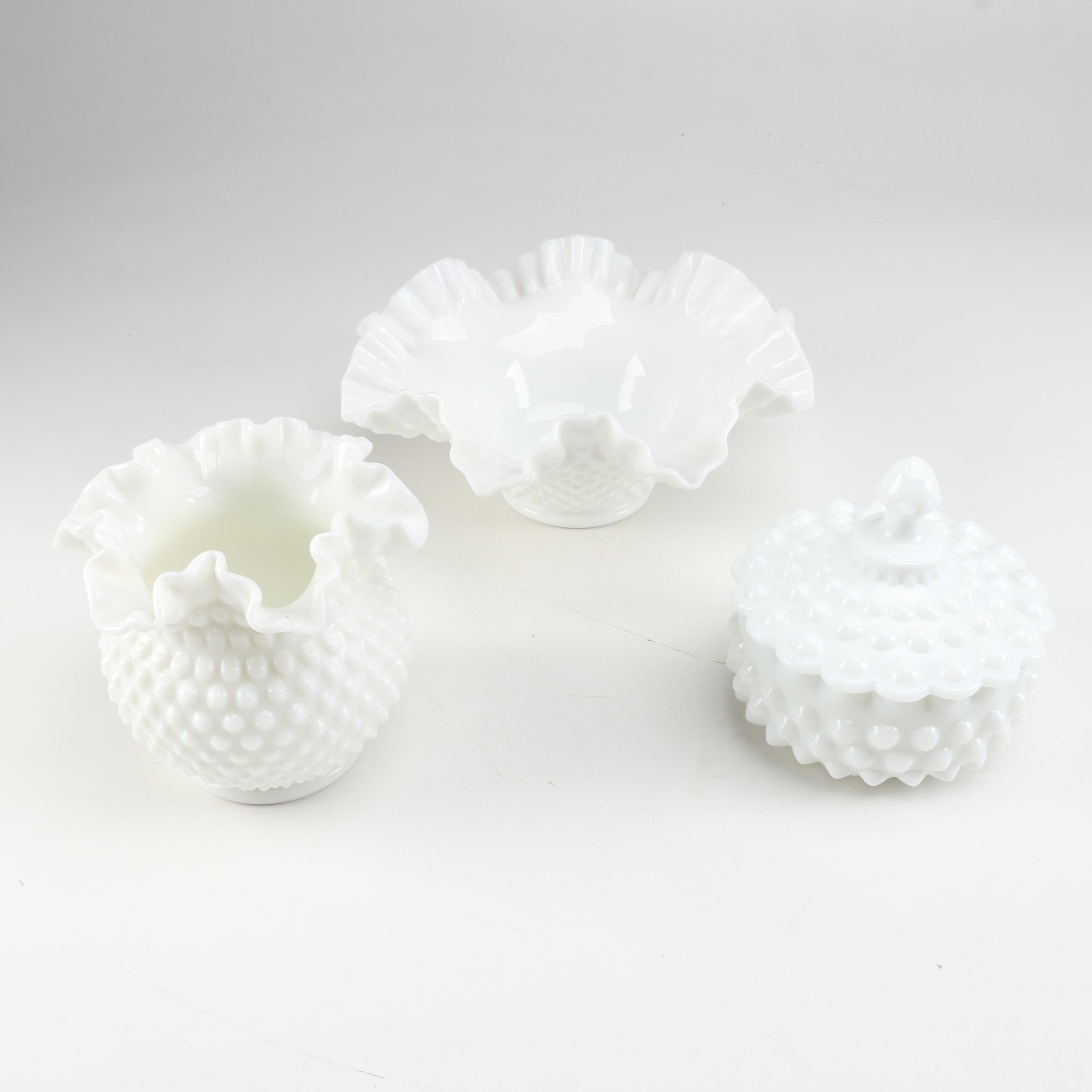 Vintage Hobnail Milk Glass Vase, Decorative Bowl and Trinket Dish