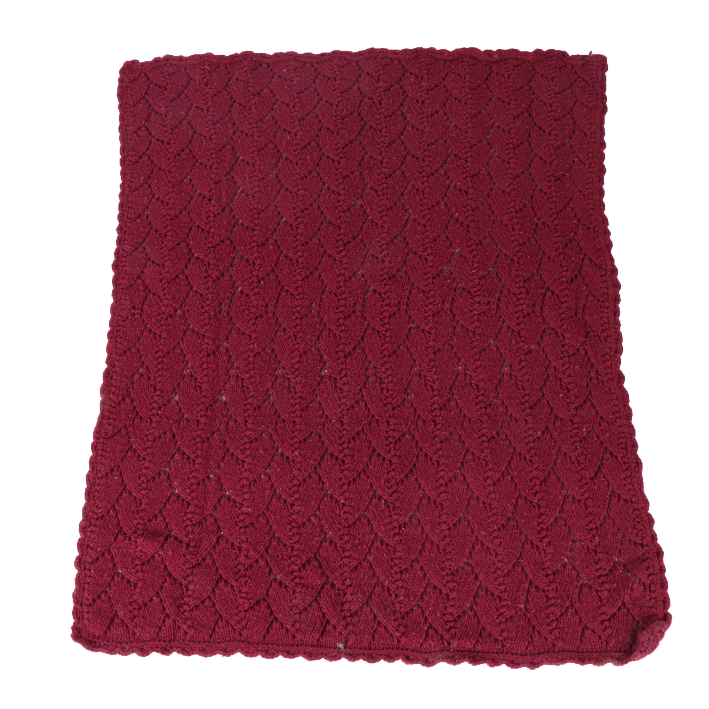 Burgundy Knitted Afghan