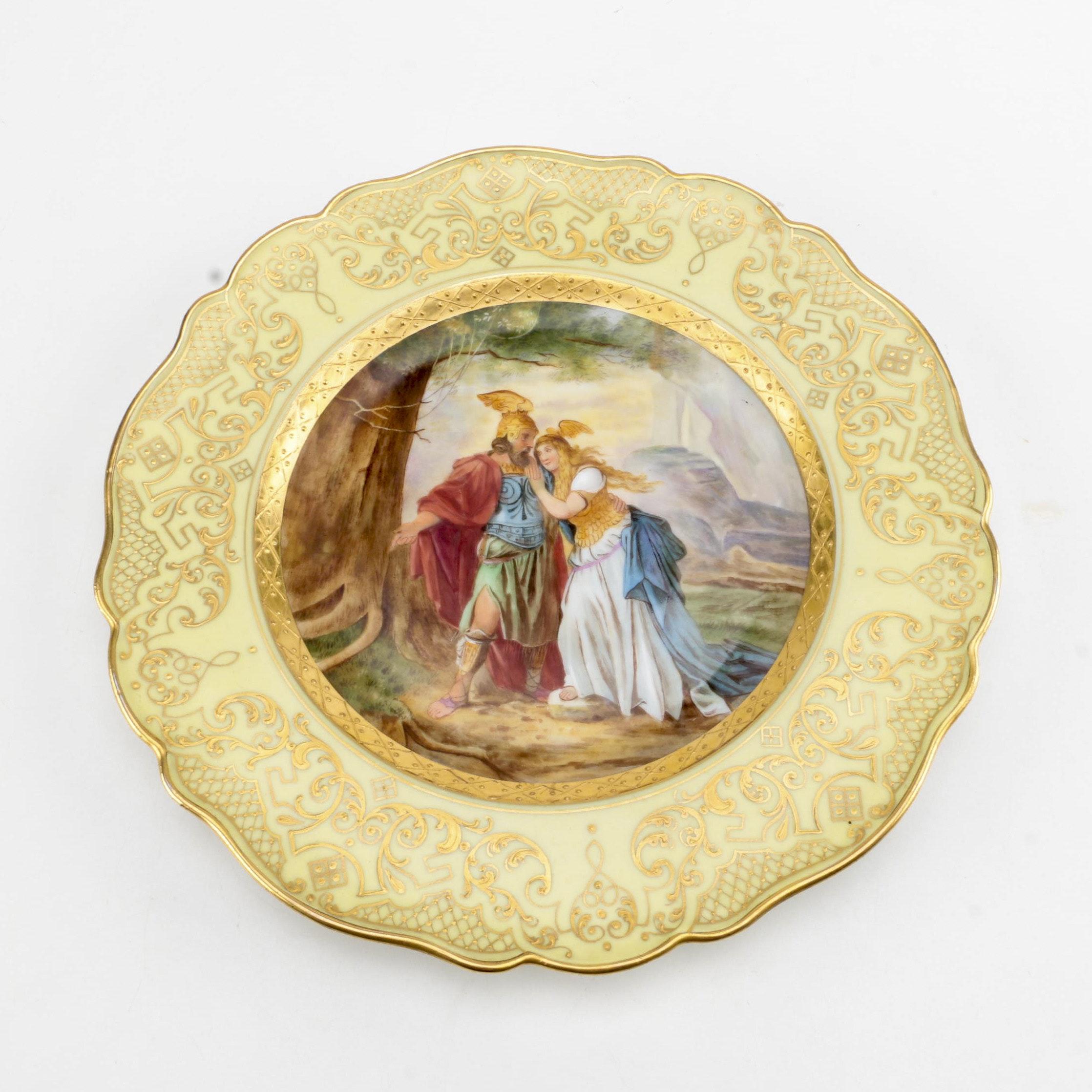 "Vintage Meissen Hand-Painted ""Ring of Nibelung"" Porcelain Plate"