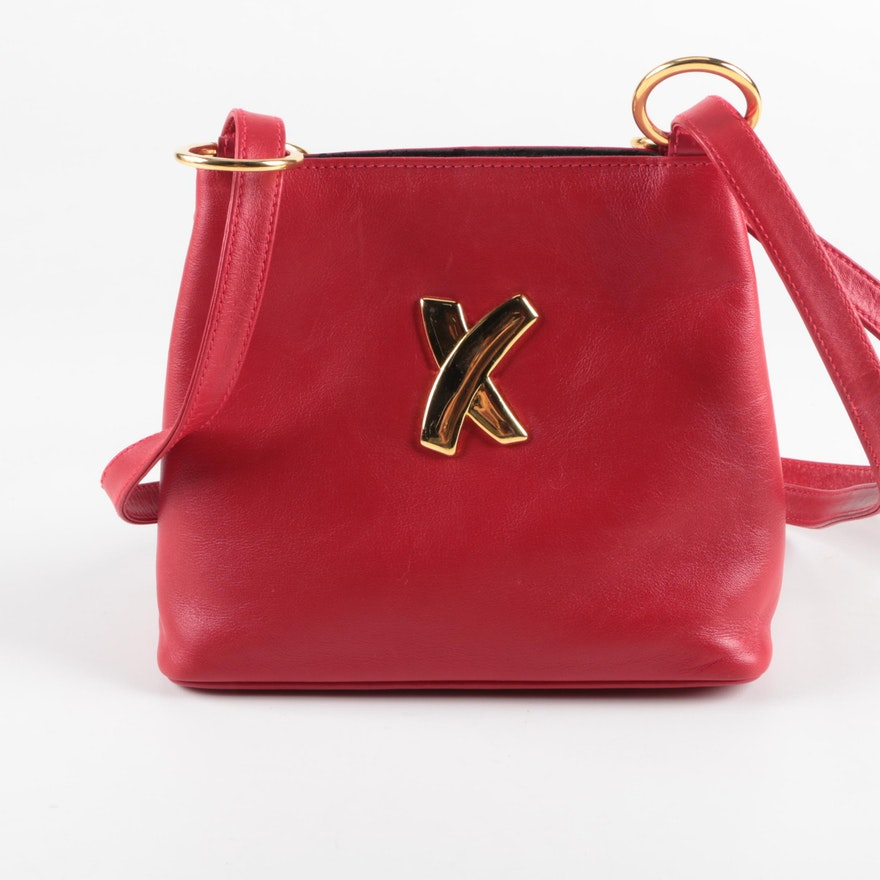 Paloma Picasso Red Leather Shoulder Bag