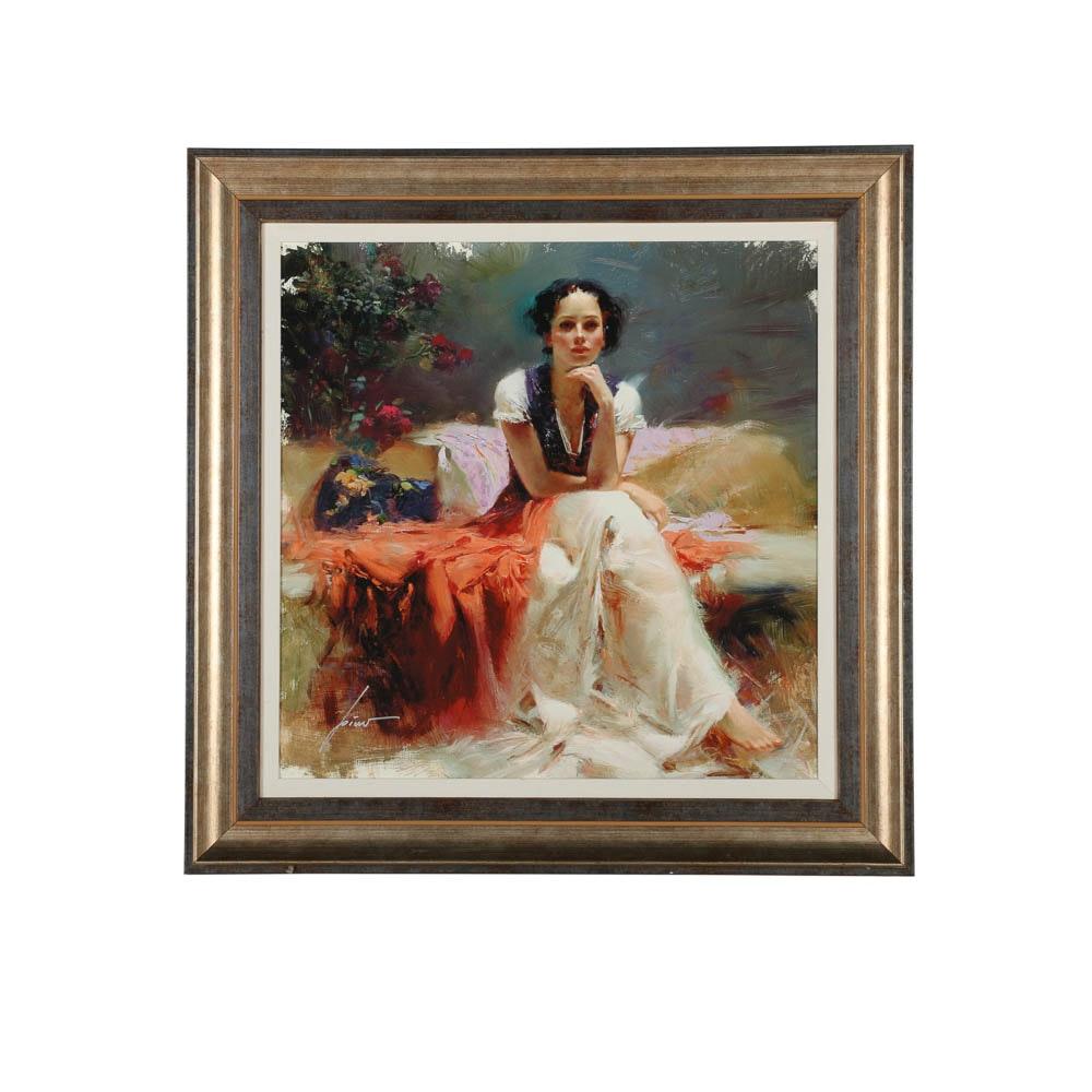 "Pino Daeni Giclée Print on Canvas ""First Glance"""