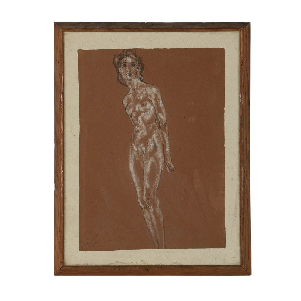 Arthur Bowen Davies Charcoal Drawing on Paper of a Female Figure