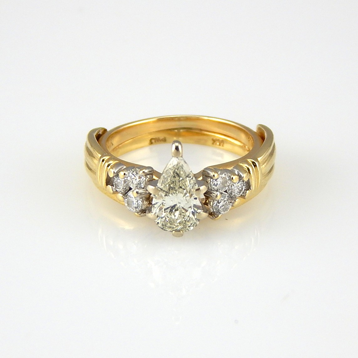 14K Yellow Gold 101 CTW Diamond Engagement and Wedding Ring Set