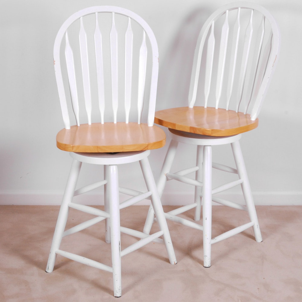 White Painted Wooden High Stools
