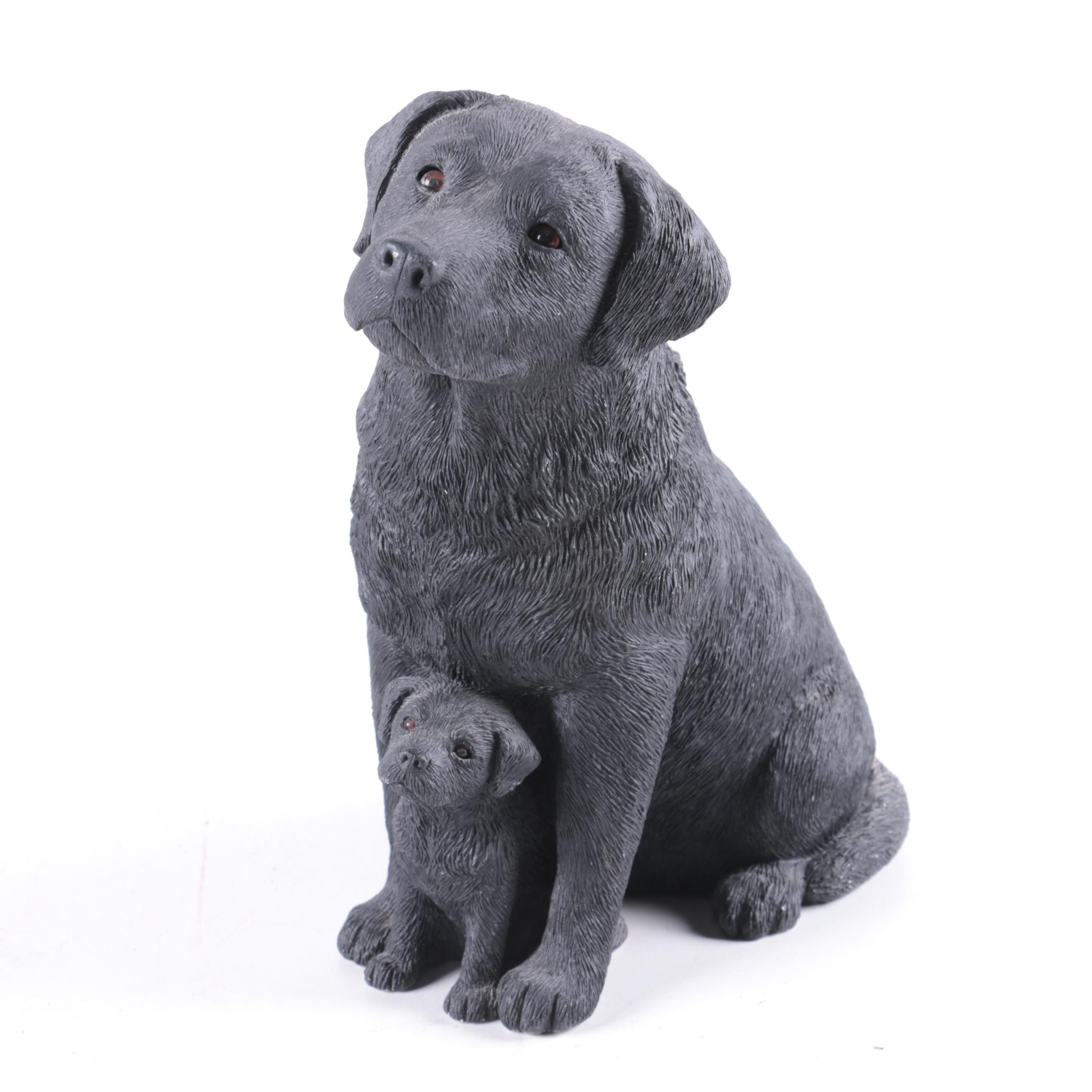 Black Labrador Retriever Dog and Puppy Resin Figurine