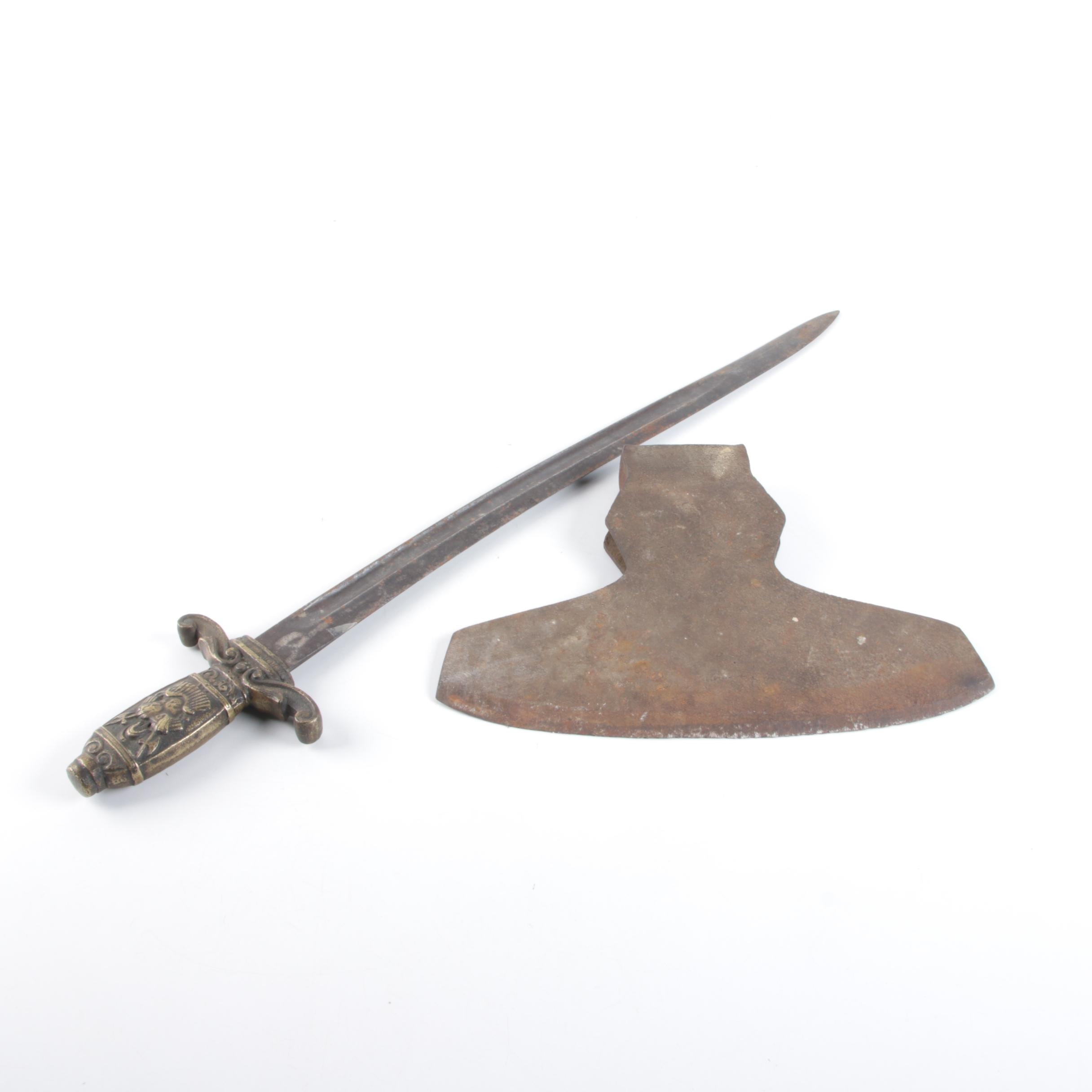 Straight-Bladed Sword with Broadaxe Head
