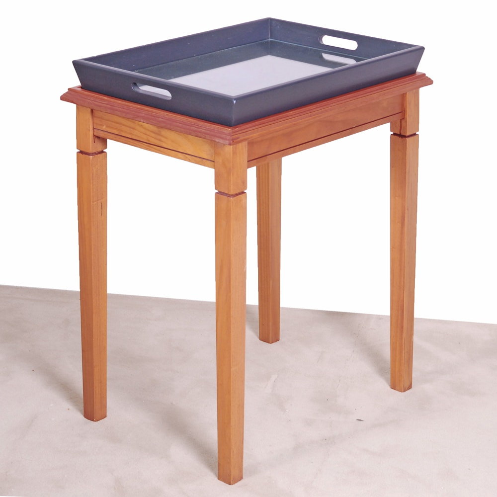 Wood Side Table with Tray Top