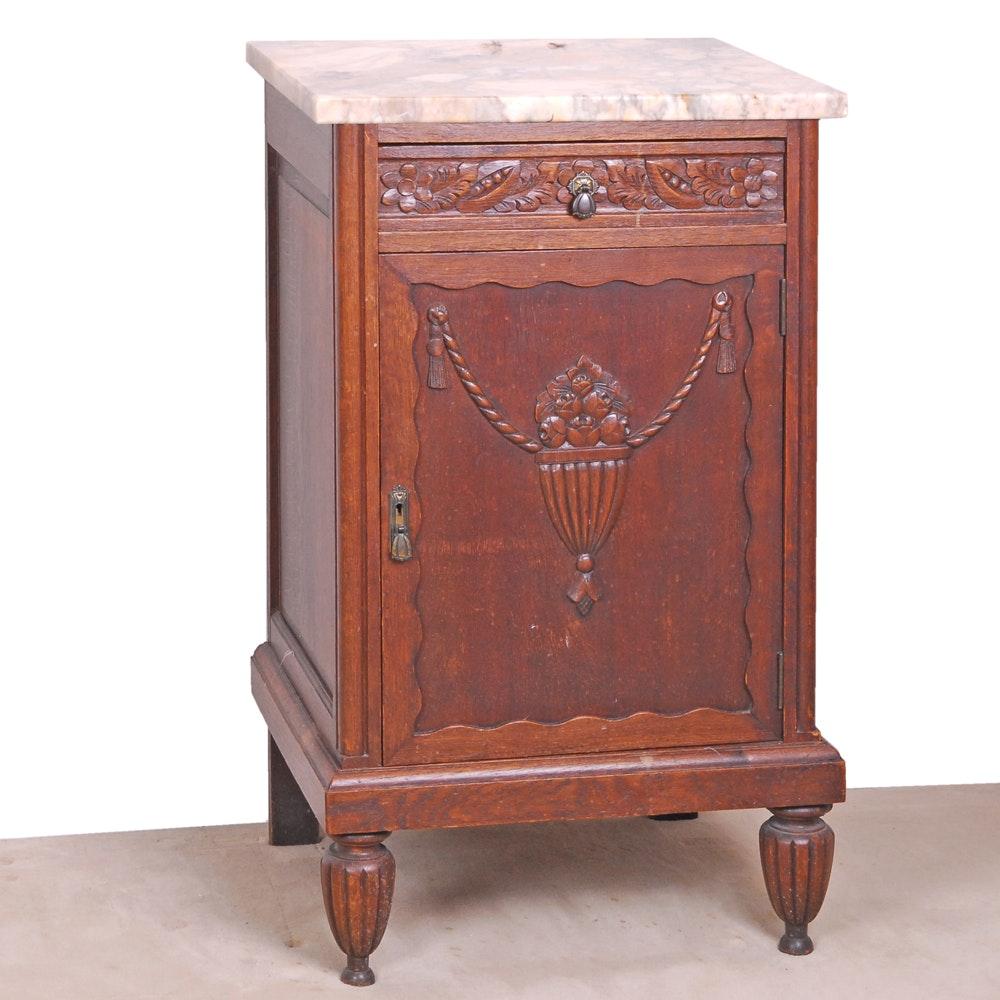 Art Deco Style Marble Top Oak Cabinet