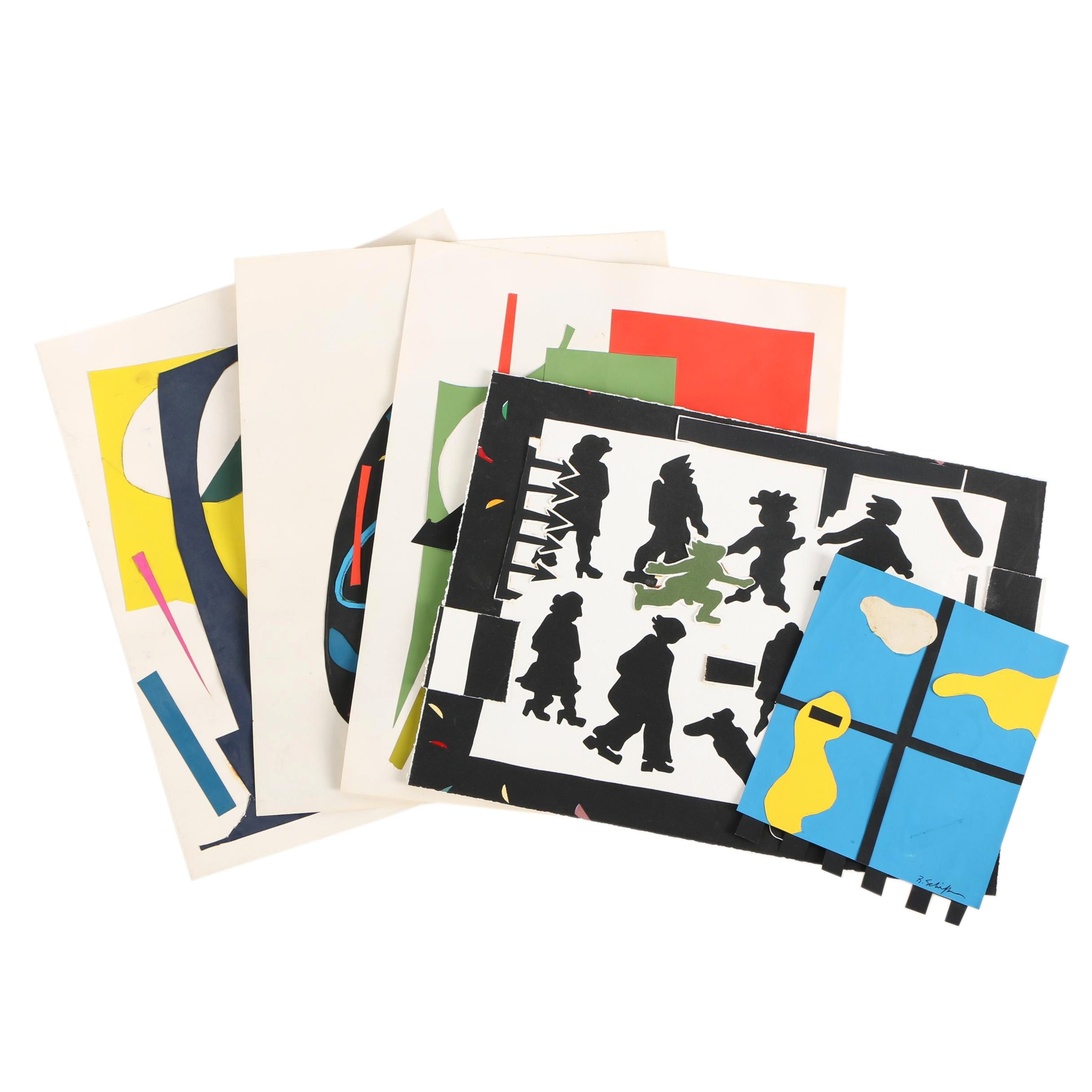 Collection of Bill Schiffer Circa 1980s Cut Paper Collages