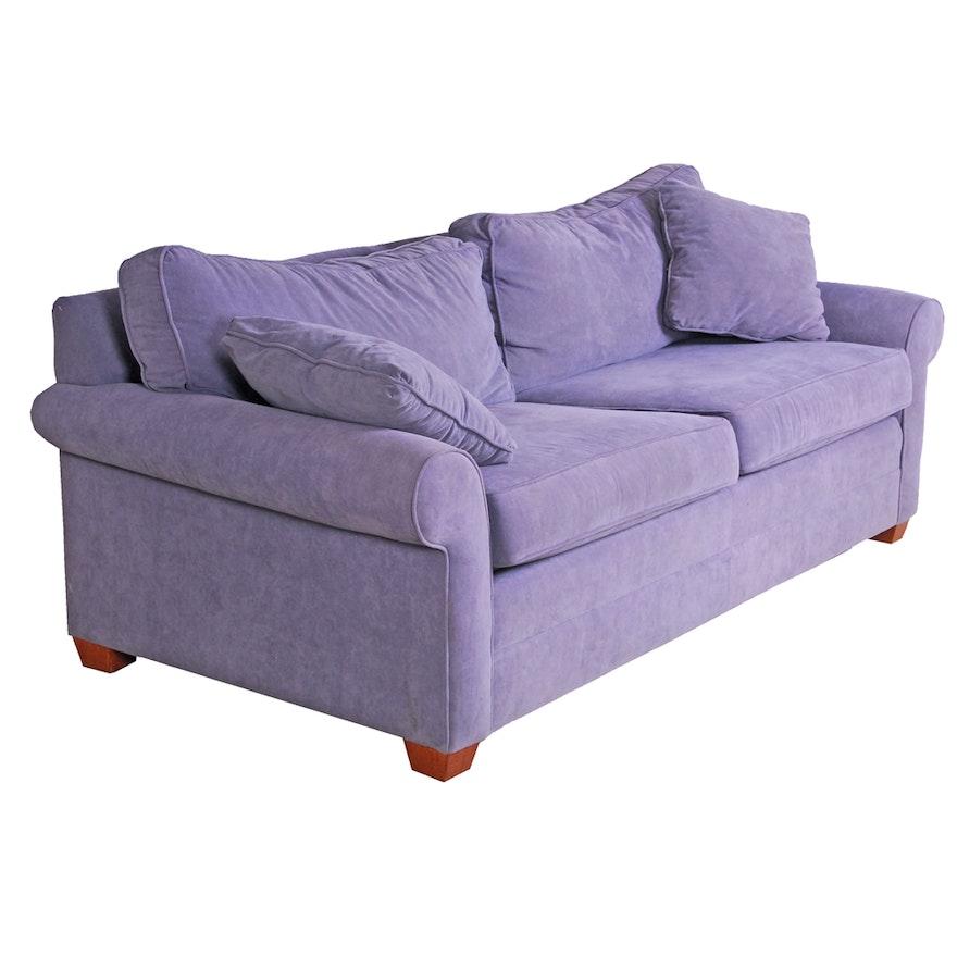 Ethan Allen Purple Ultra Suede Sofa