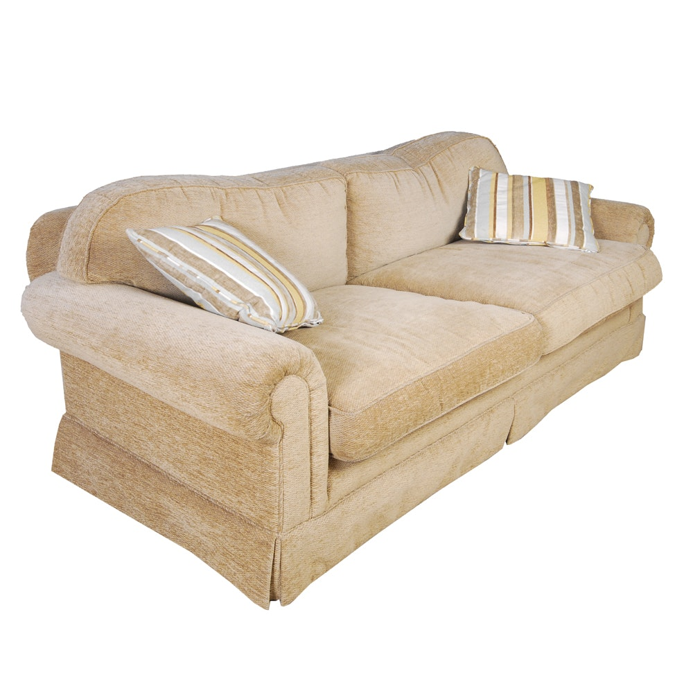 Chenille Skirted Sofa: Tan Chenille Sofa From Calico Corners
