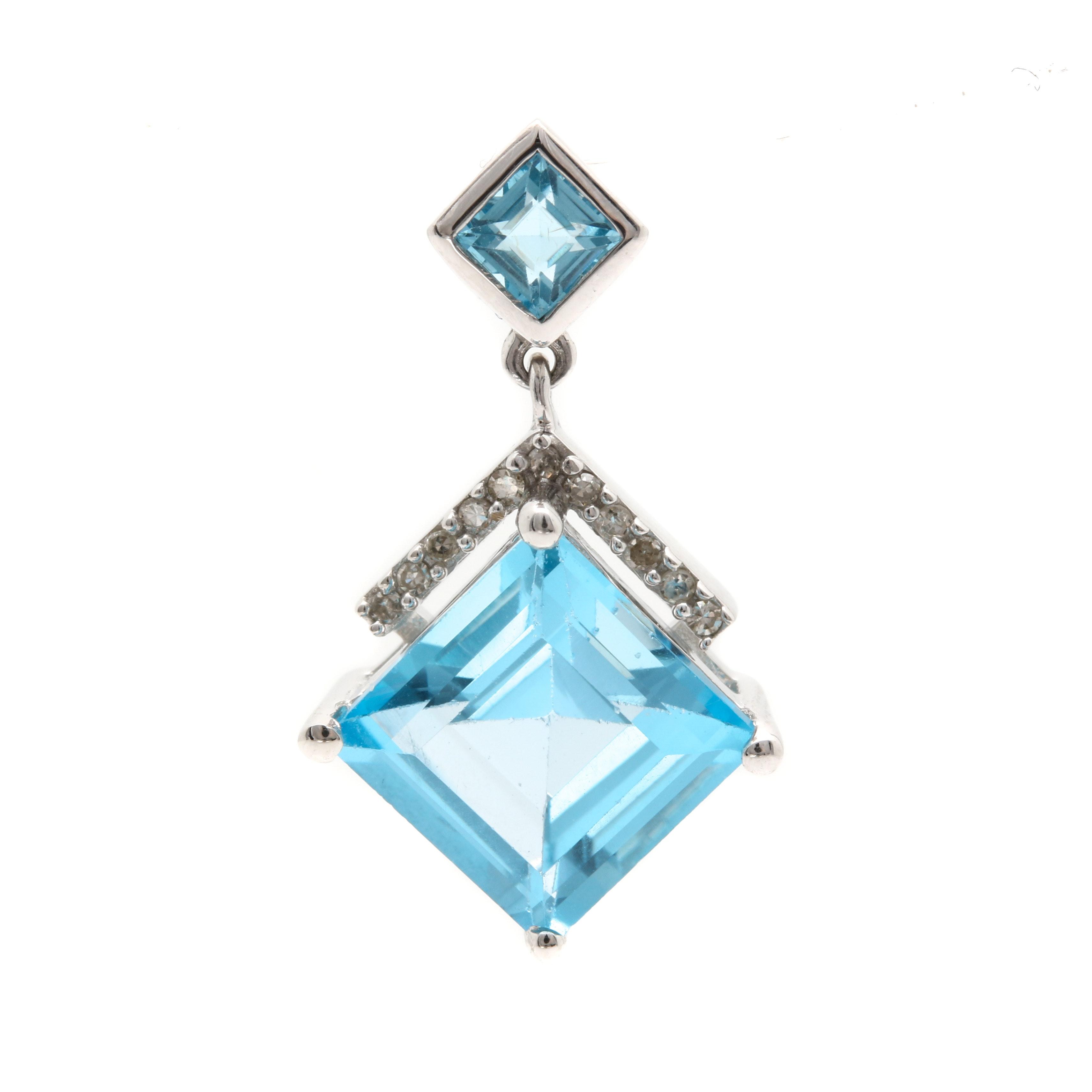 14K White Gold Blue Topaz Diamond Pendant