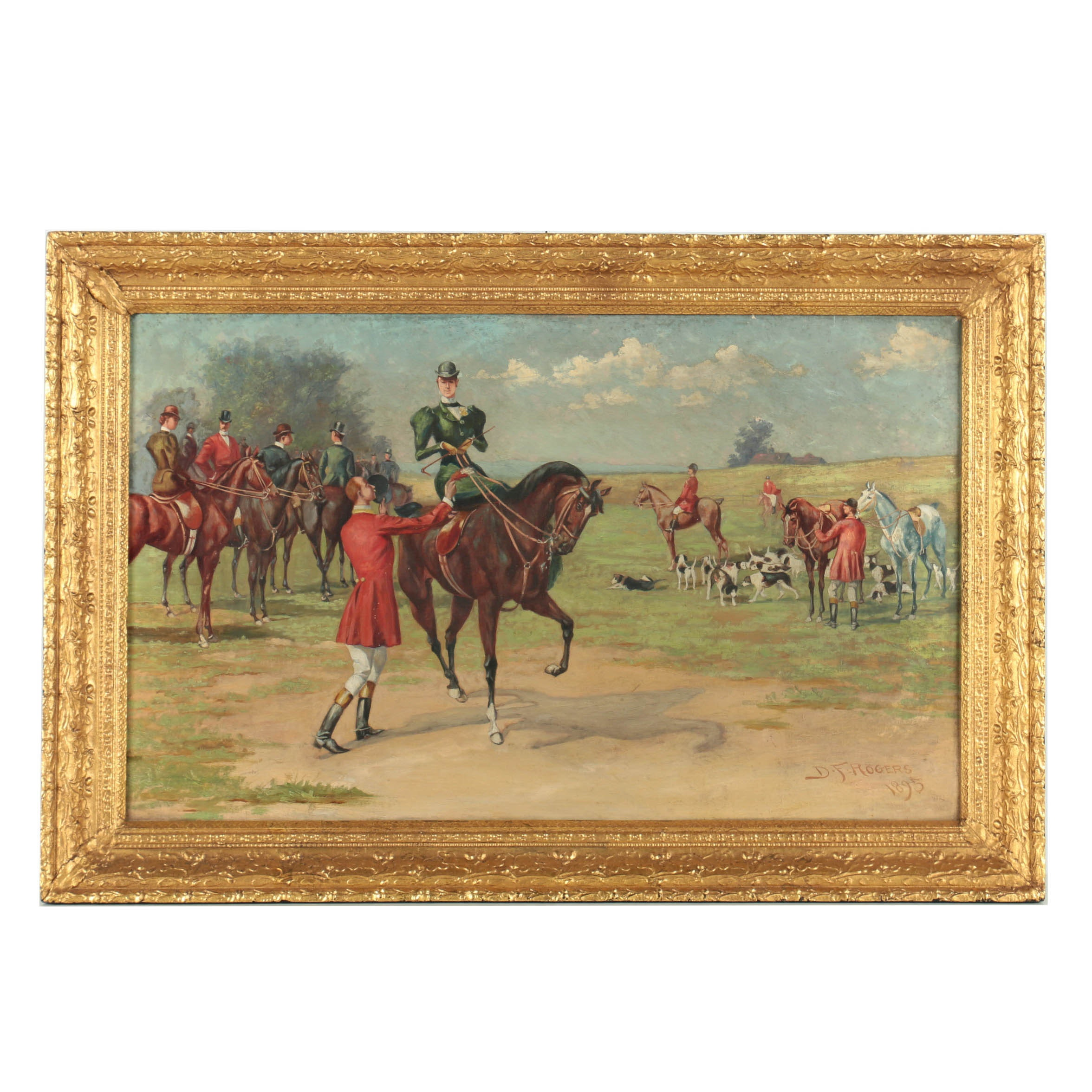 D.F. Rogers 1895 Oil Painting on Canvas of Equestrian Hunting Scene
